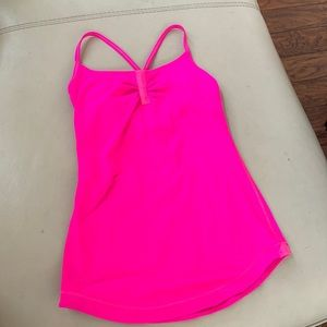 Lululemon neon hot pink tank bra top workout gym 4